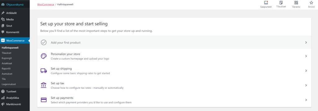 WooCommerce hallintapaneeli näkymä